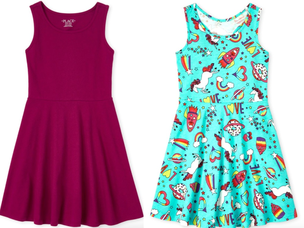 two sleeveless children's place dresses side by side