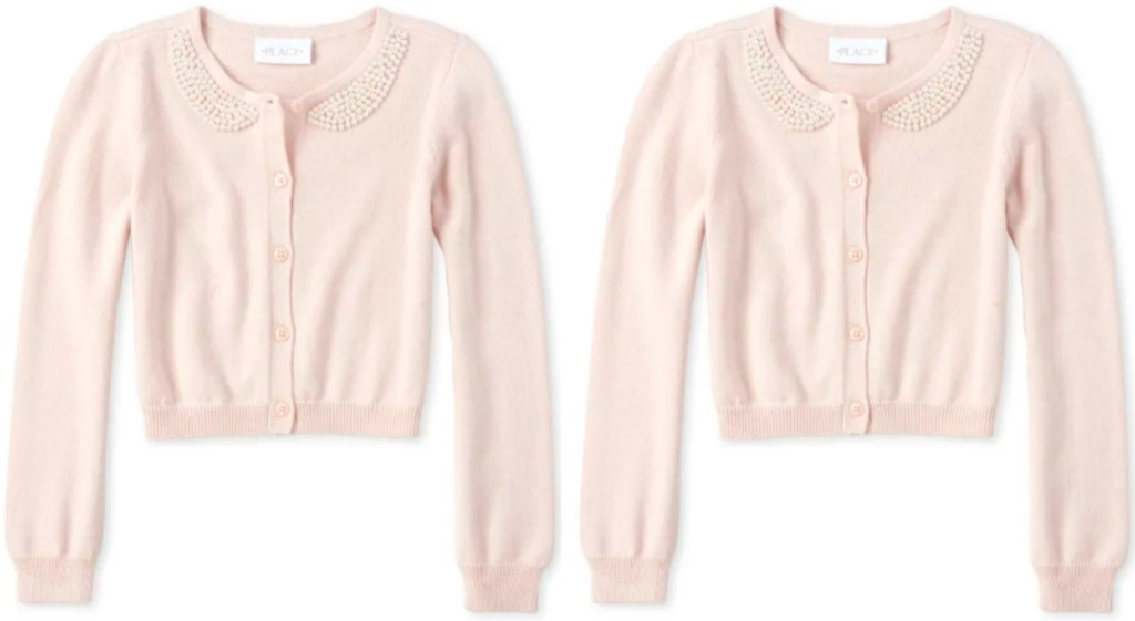 pink and pearl Girls Faux Pearl Cardigan