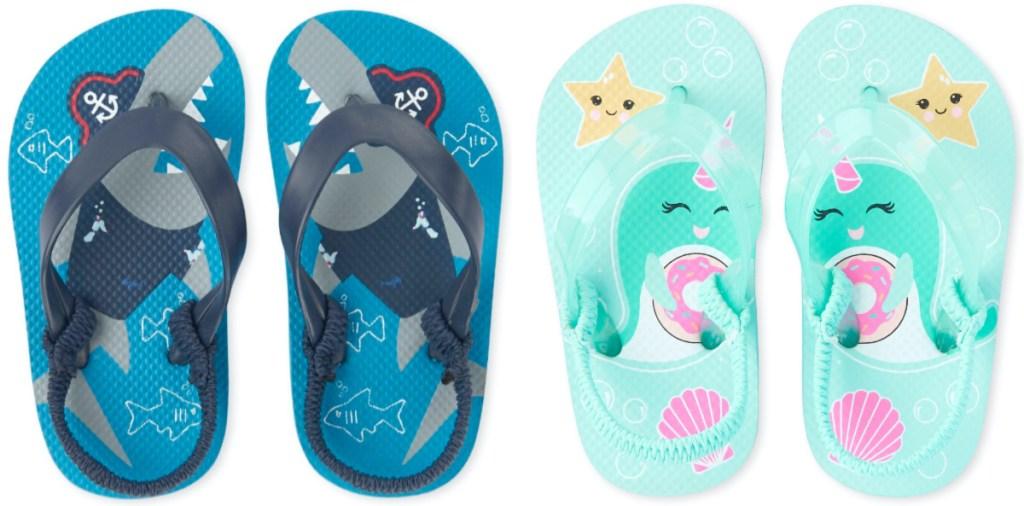 toddler boys blue shark flip flops and toddler girls blue narwhal flip flops