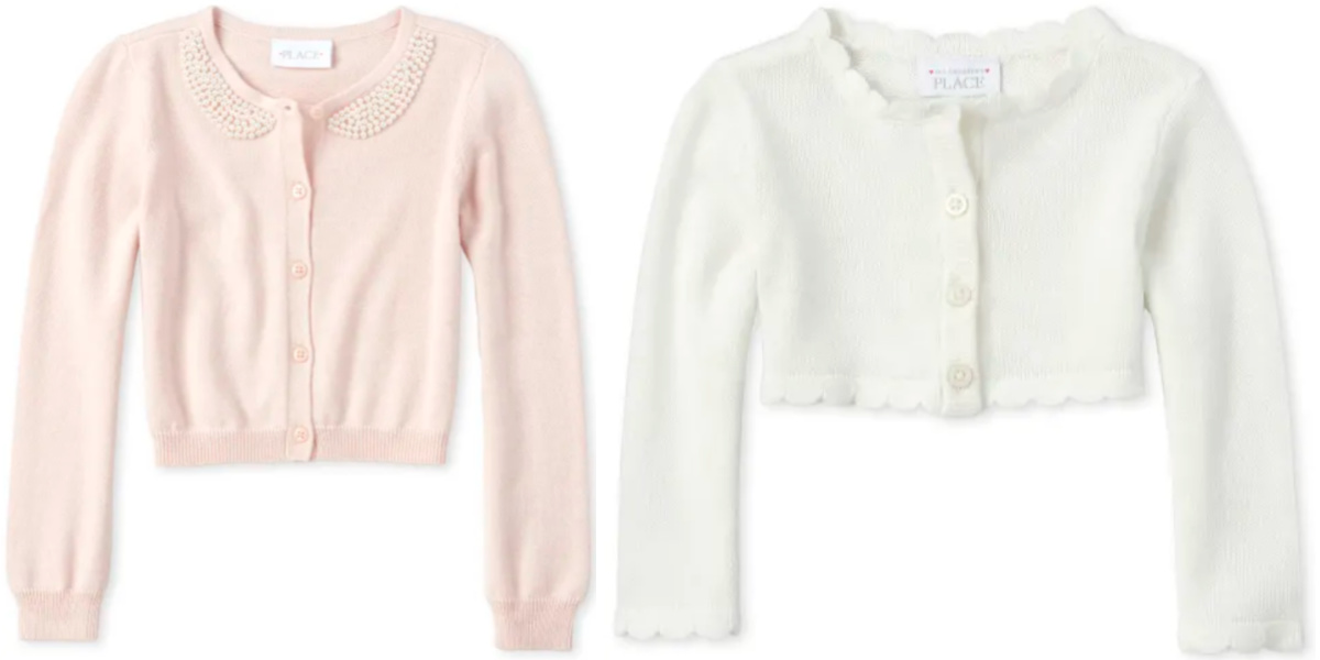 white and pink The Childrens Place Toddler and Baby Cardigan