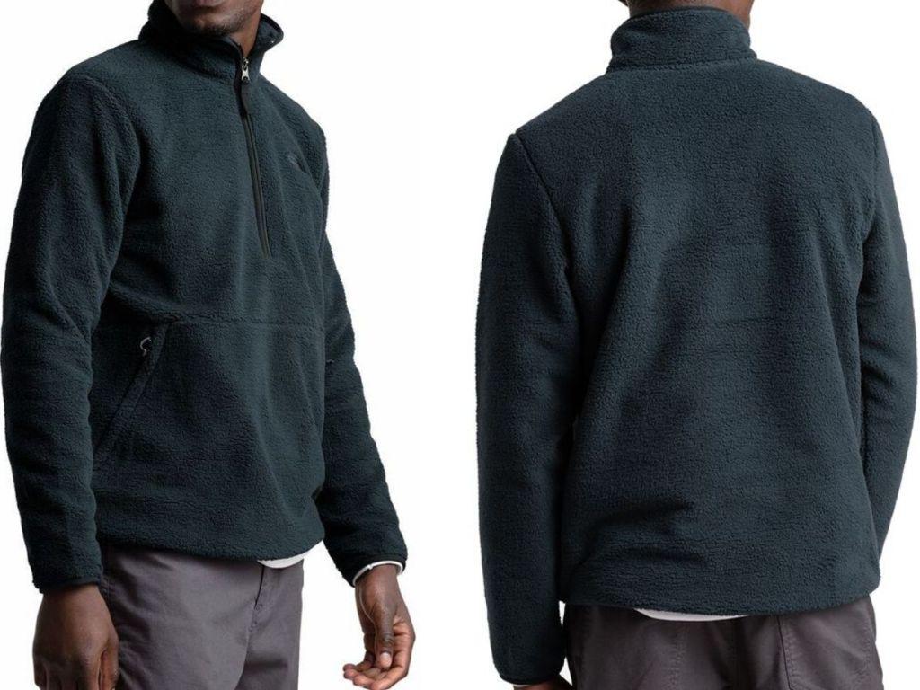 front and back view of man wearing quarter zip fleece jacket