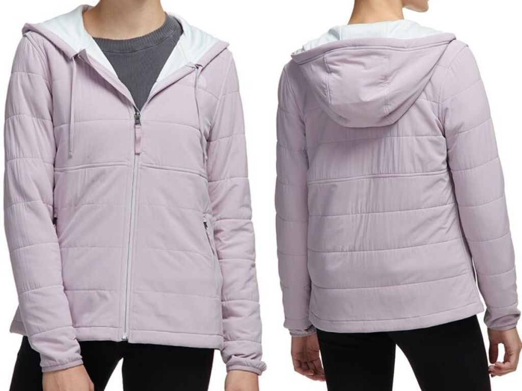 front and back view of women's full zip hoodie