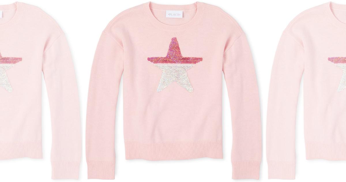 pink star sequin The children place Girls Flip Sequin Sweater