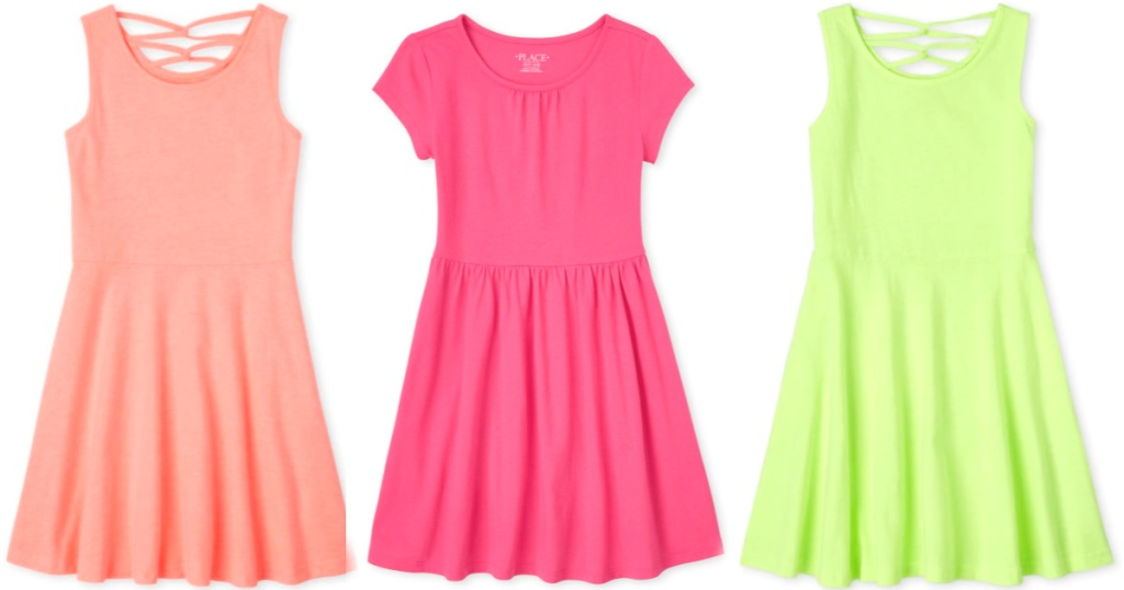 peach colored and neon green strappy dress and watermelon color dress