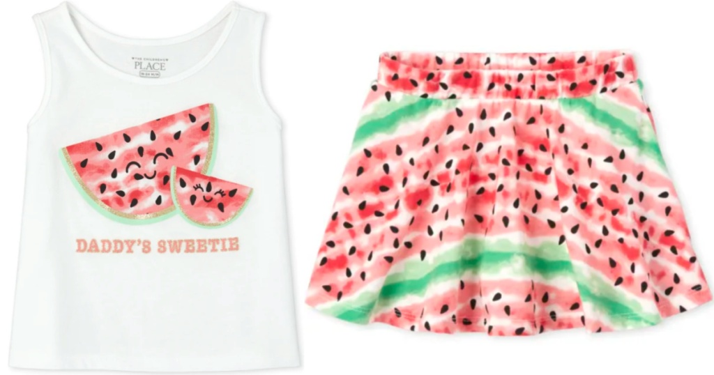 watermelon outfit from the childrens place tank top and skirt