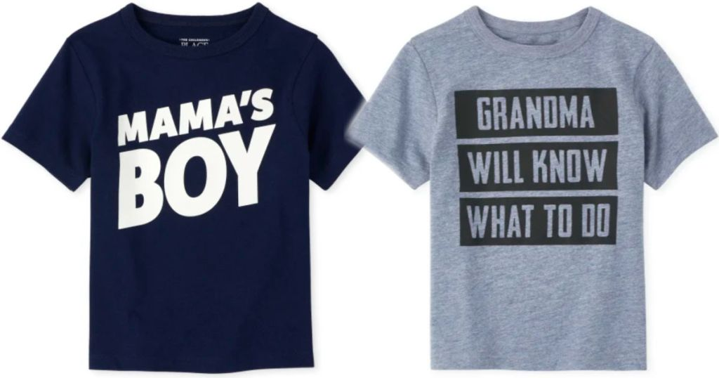 navy mama's boy and grey grandma will know what to do children's place graphic tee