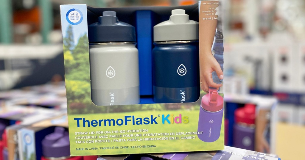 blue and white two pack of thermoflask brand kids water bottles