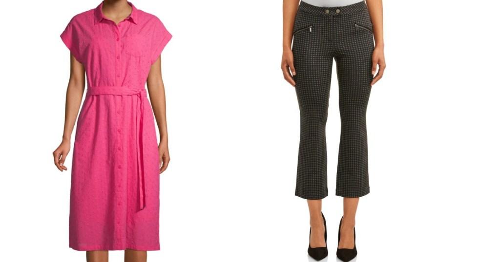 model in a dress next to model in pants