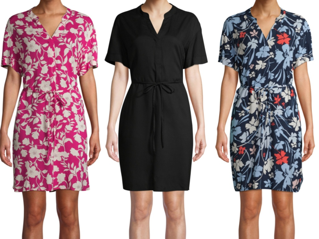 woman in pink floral dress, woman in black dress, and woman in blue floral dress
