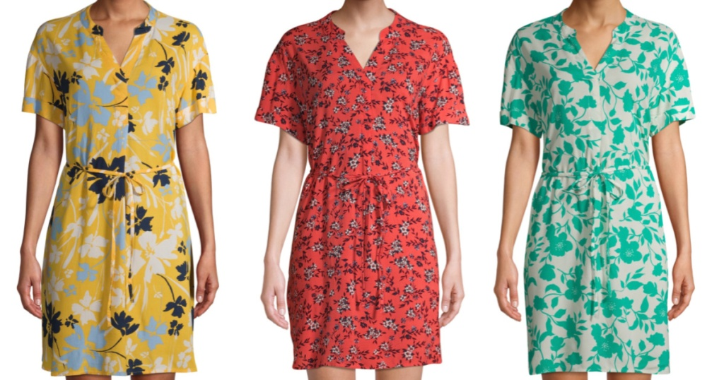 woman in yellow floral dress, woman in coral floral dress, and woman in teal floral dress
