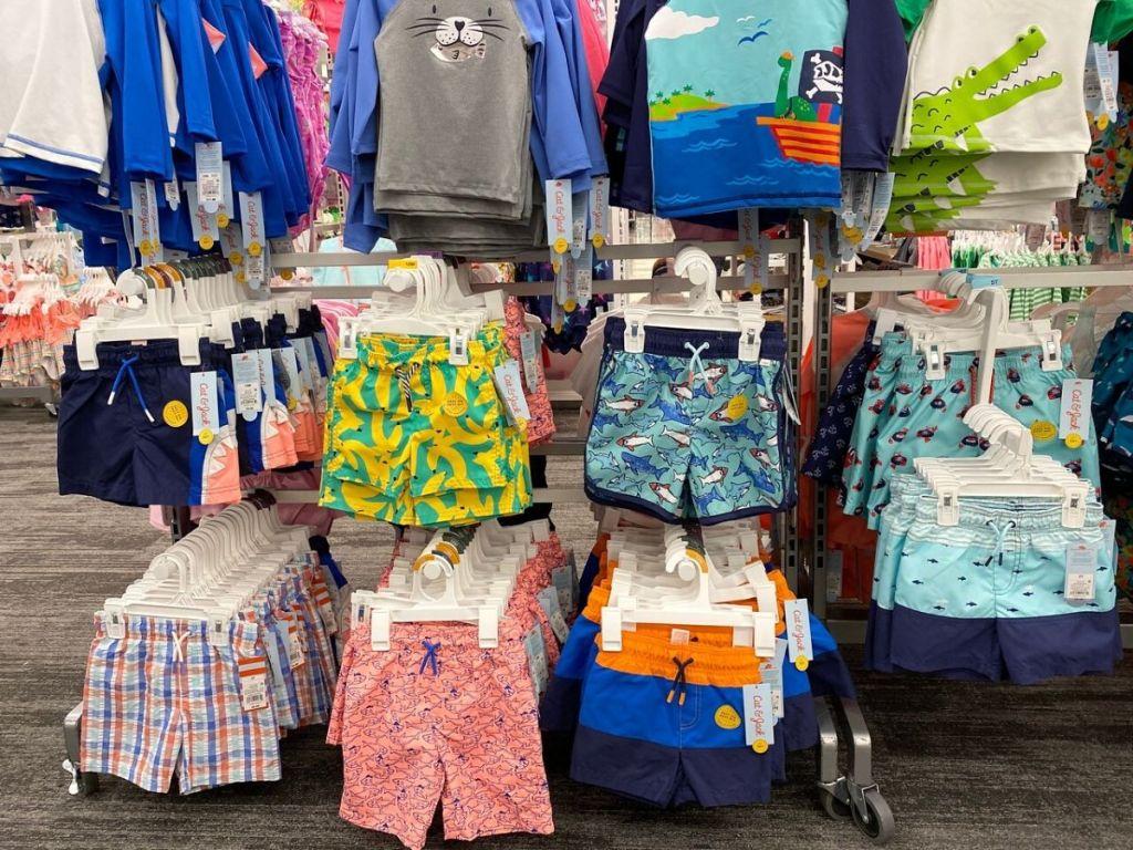 toddler boys swimwear display at store