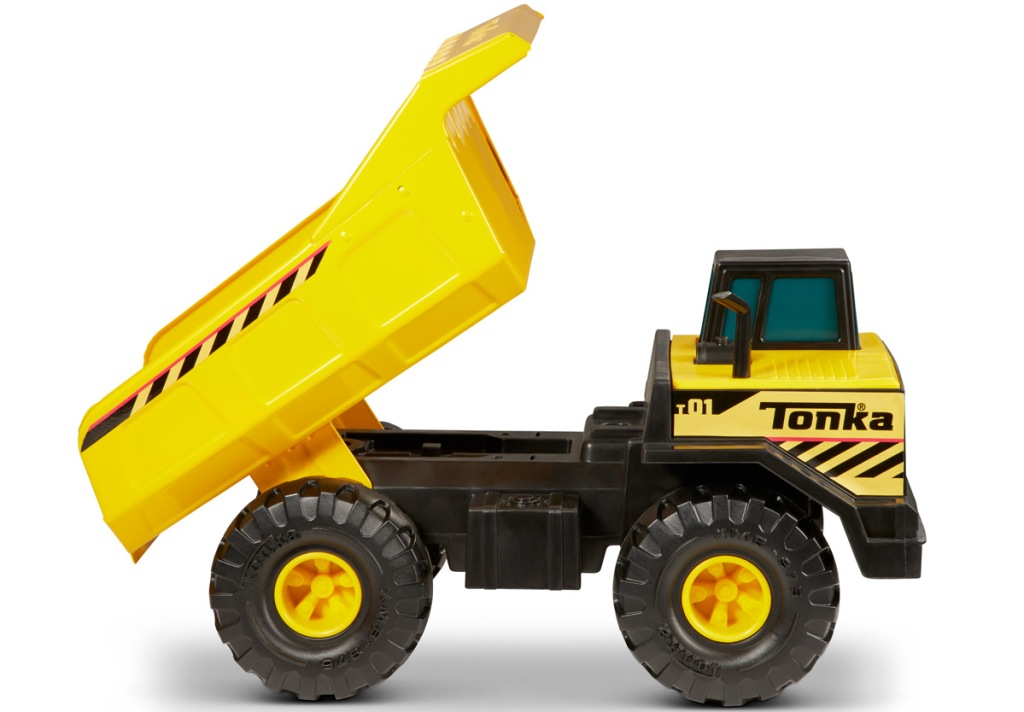 yellow and black tonka dump truck toy is raised bed