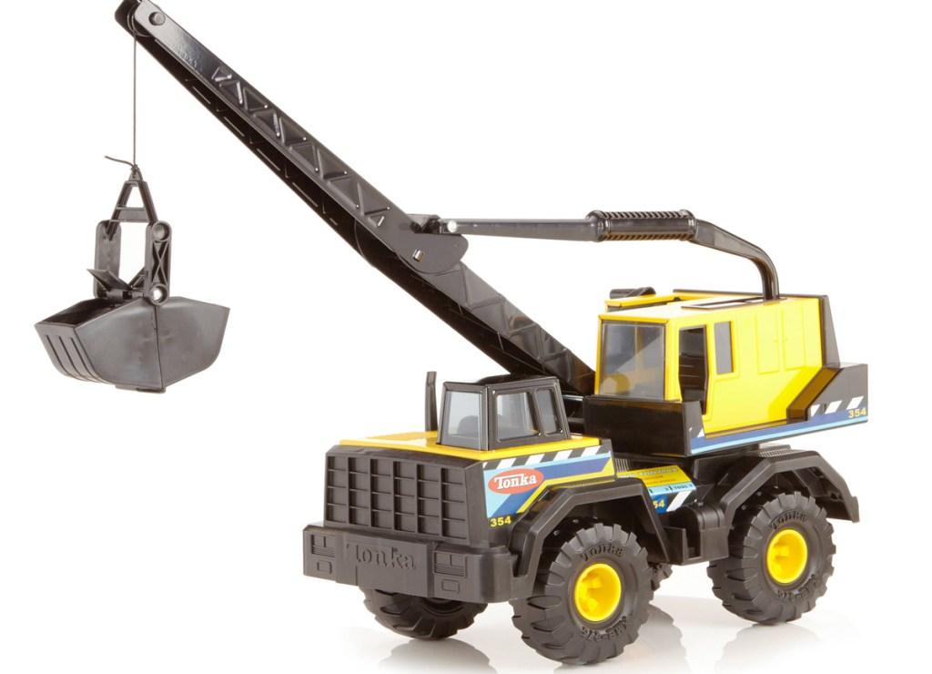yellow and black tonka crane truck toy