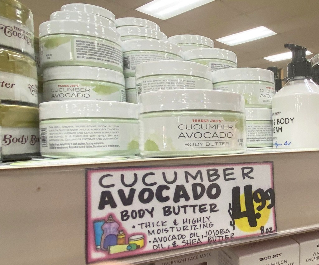 white containers of Trader Joe's Cucumber Avocado Body Butter on store display shelf