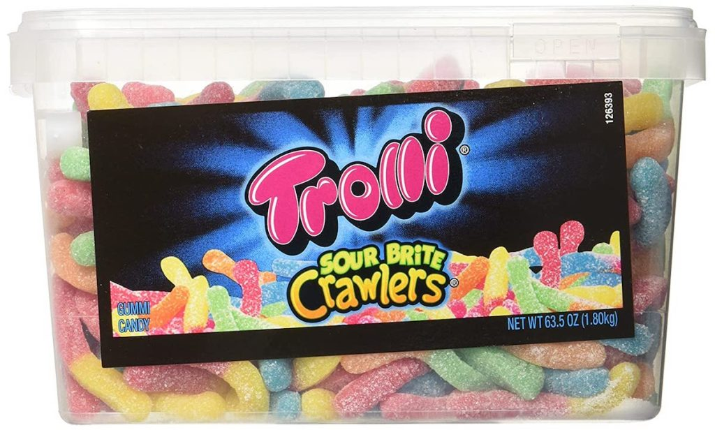 container of Trolli Gummy Worms