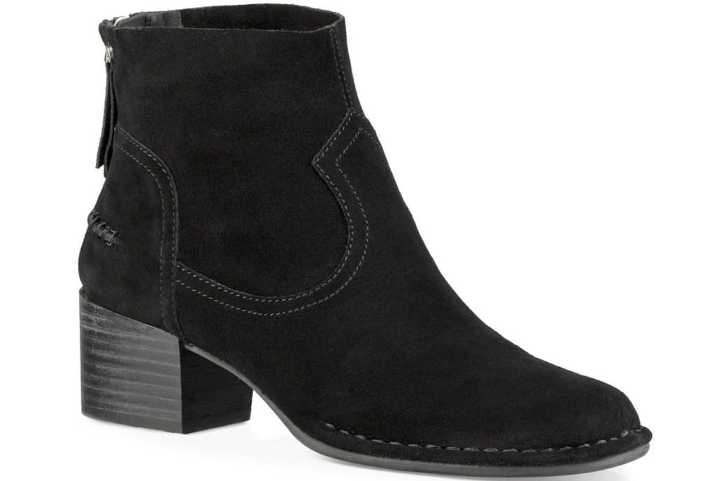 black suede bootie with block heel