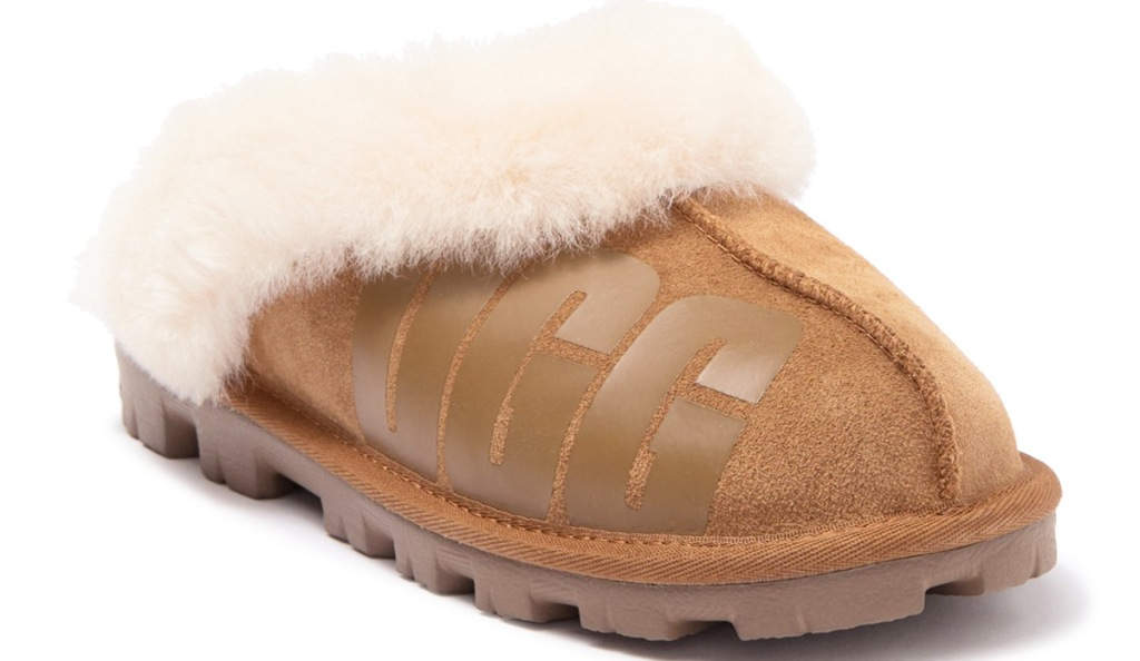 """brown slippers with sheepskin lining and """"ugg"""" printed on them"""