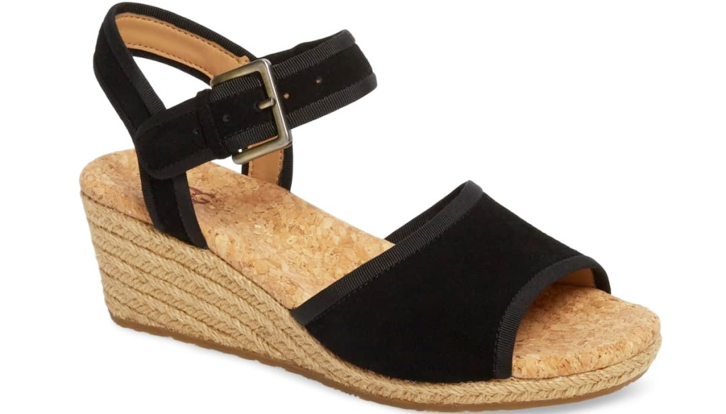 black suede sandals with braided rope wedge
