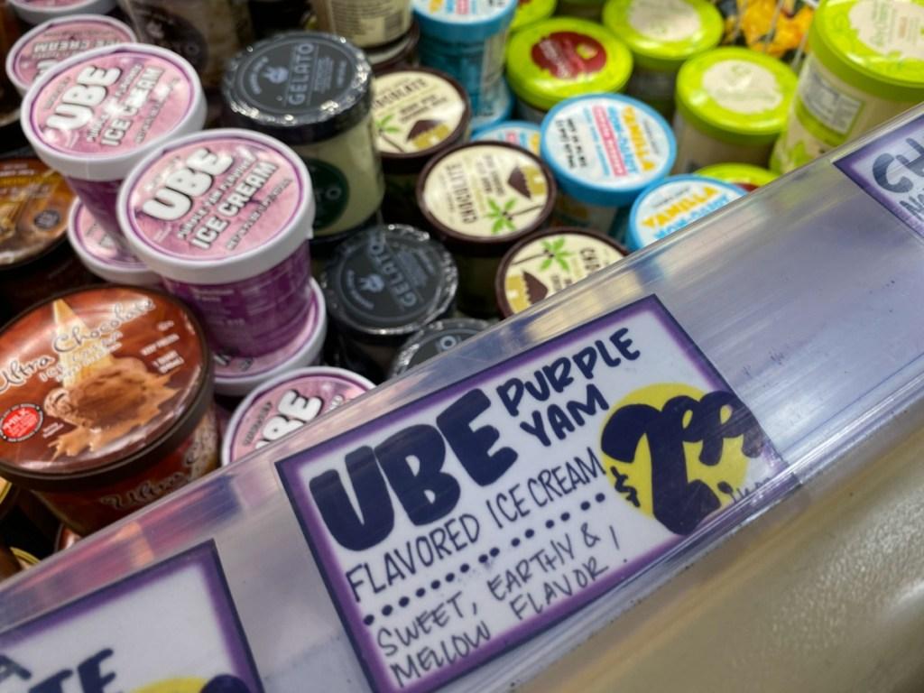 Ube Ice cream in freezer at Trader Joe's