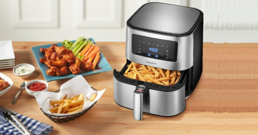 insignia air fryer on counter with food