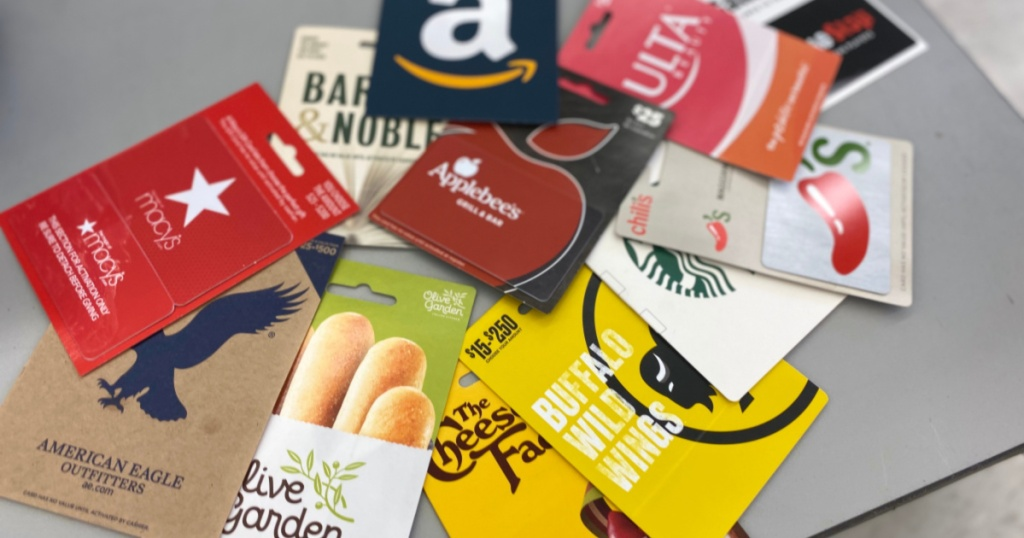 various gift cards in a pile olive garden buffalo wild wings and more