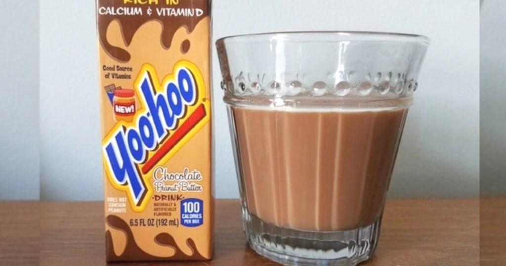 yoohoo chocolate milk next to glass