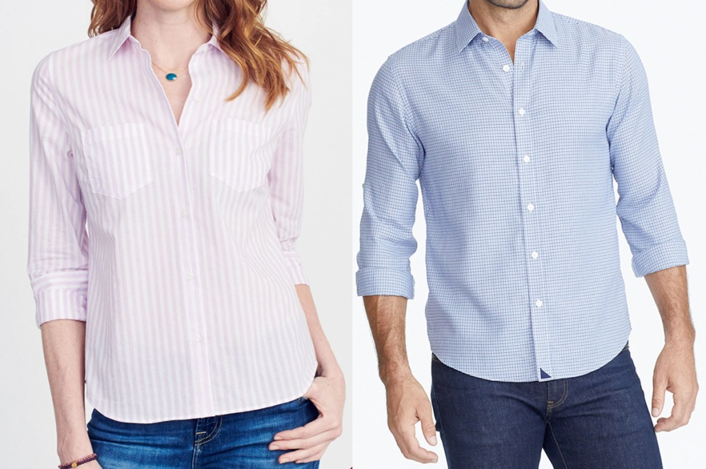 woman wearing a pink and white striped button down shirt and man wearing blue button down shirt