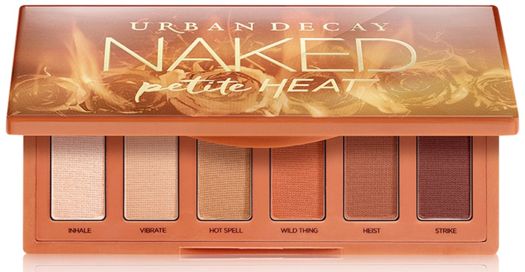 mini urban decay naked heat palette with shades of brown eyeshadows