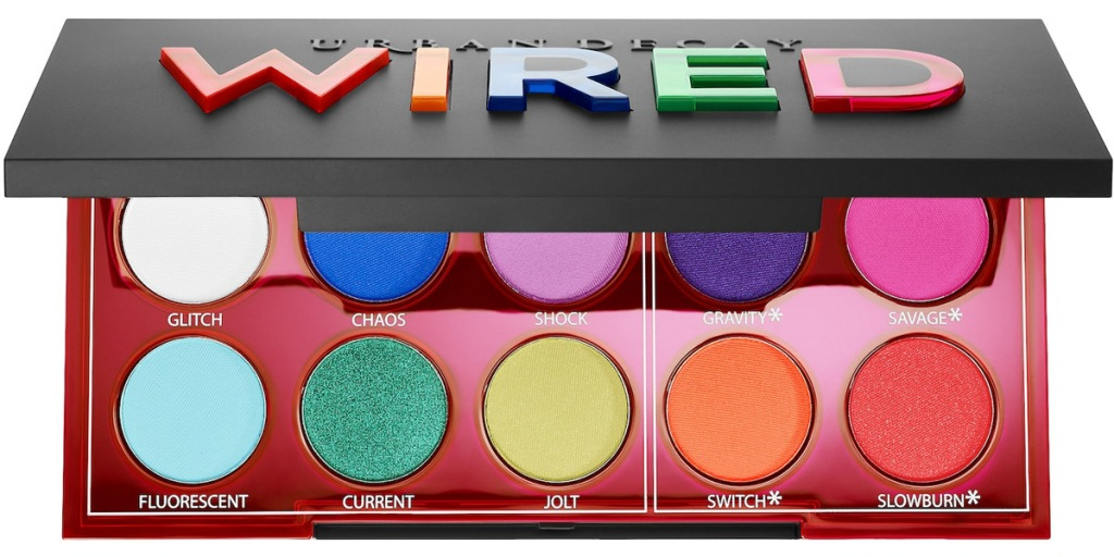 palette of neon colored body and eye pigments