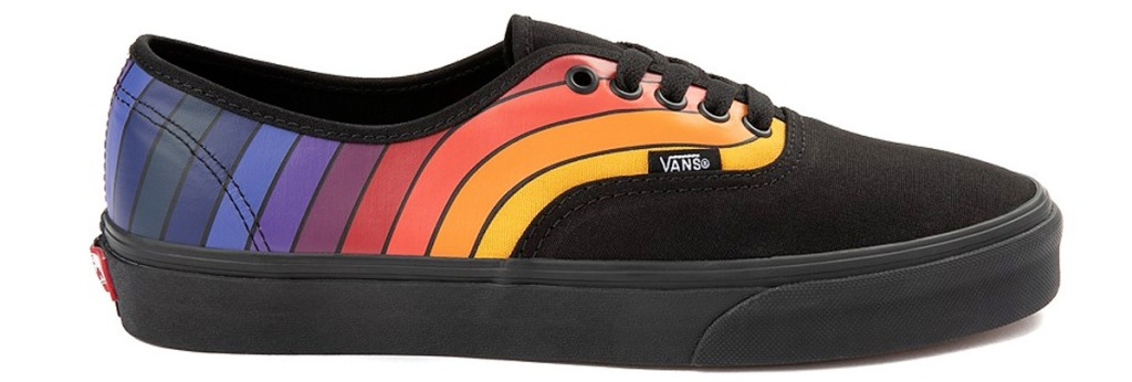 black vans shoes with rainbow pattern stretching along back