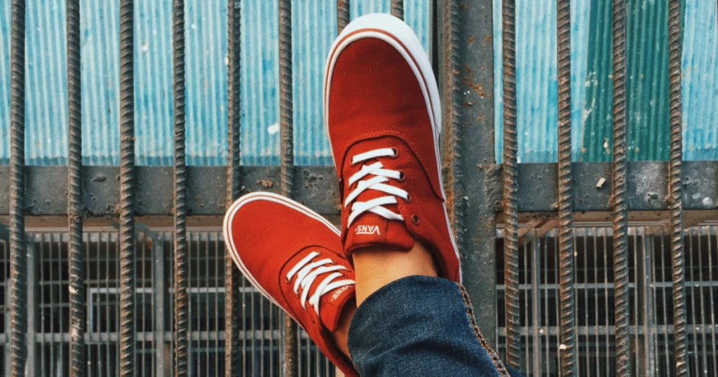 Vans Doheny Men's Skate Shoesin Oxblood propped up on iron rods