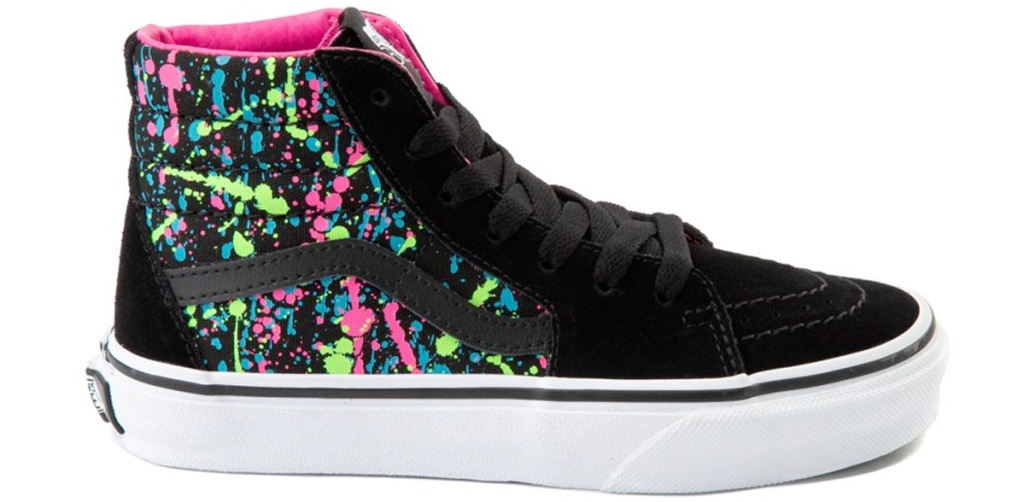 black high-top sneakers with neon colored splatter pattern along back side