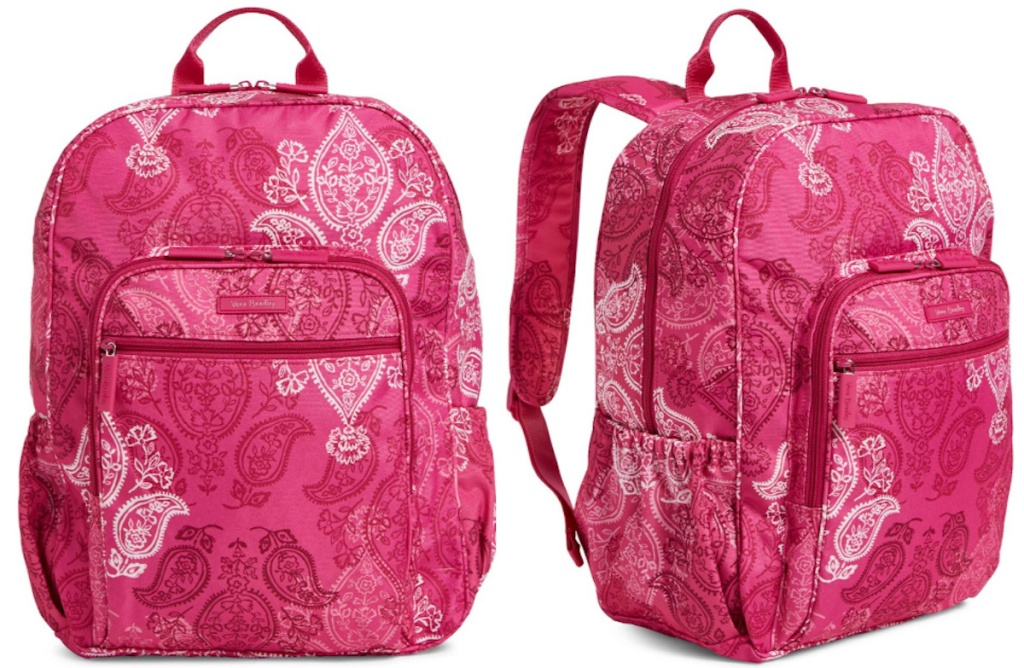 pink and white vera bradley campus backpack