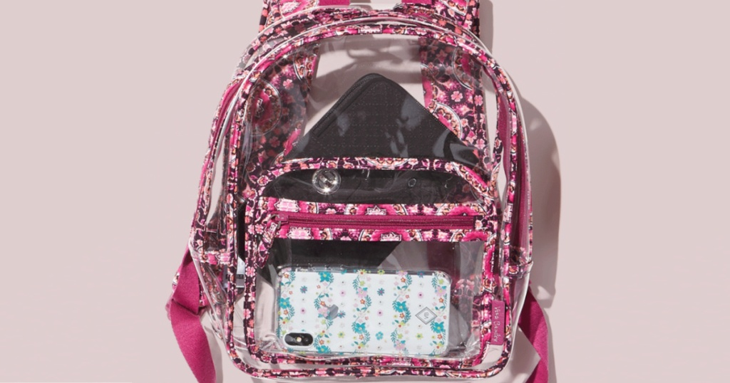 pink floral and clear backpack with light pink background