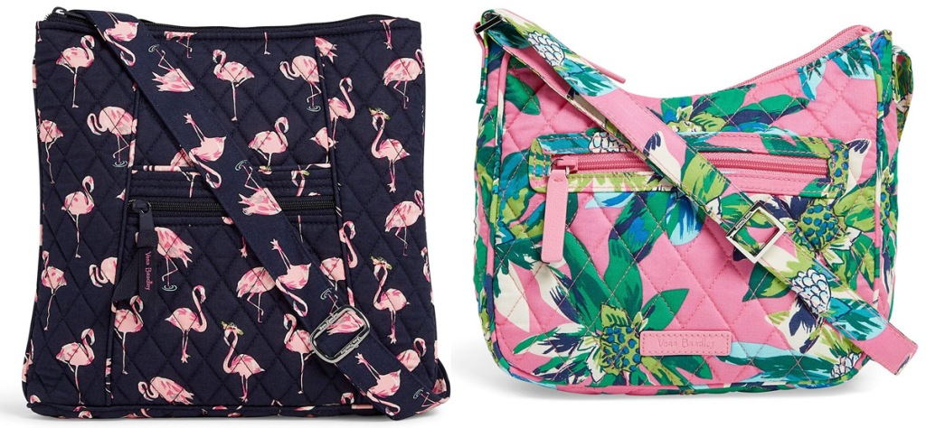 two crossbody bags in black with pink flamingos and pink and green floral prints