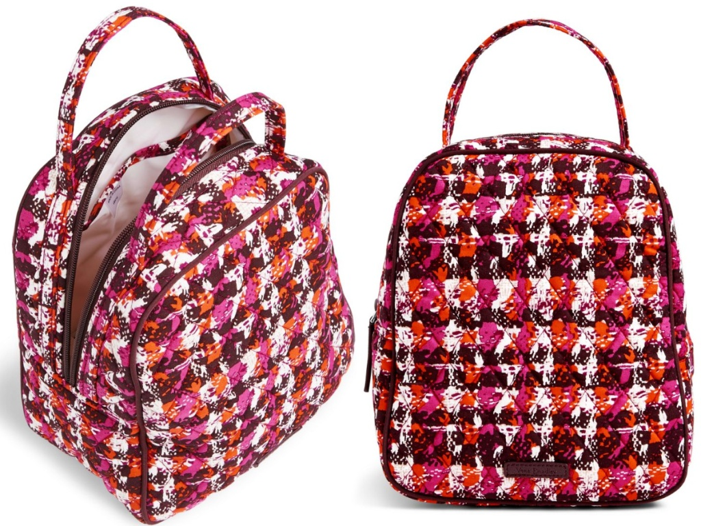 pink, white, and red vera bradley lunch box