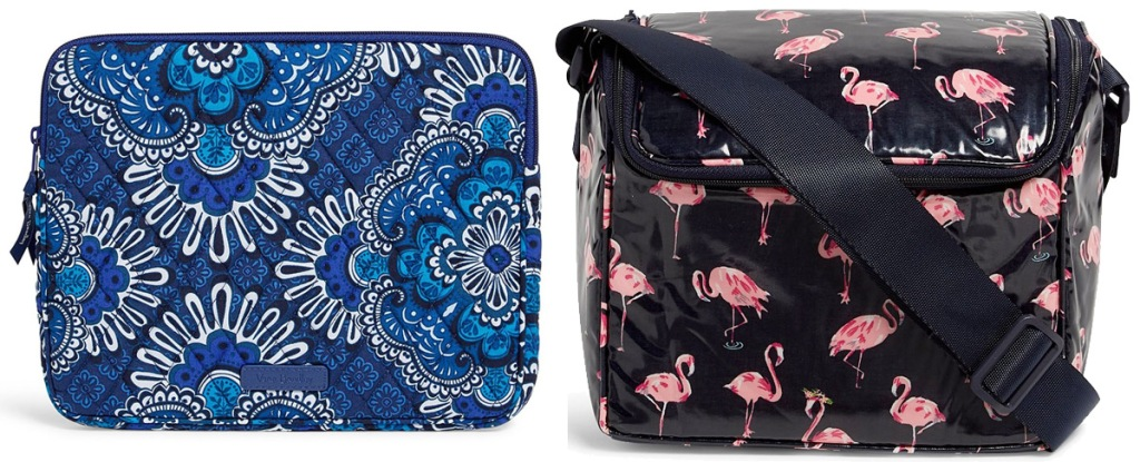 blue medallion print tablet sleeve and black with pink flamingo print lunch cooler