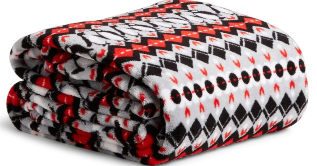 Vera Red Black and Grey Bradley Throw Blanket folded