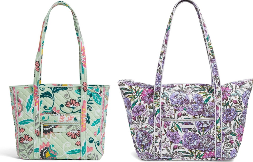 mint green floral tote bag and purple floral overnight bag