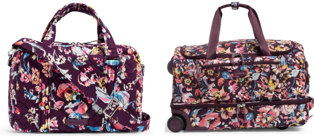 vera bradley duffel bag without wheels, duffel bag with wheels both with flowered prints