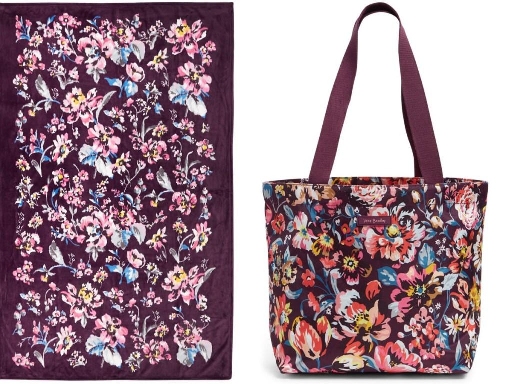 vera bradley flowered print plush blanket and tote bag