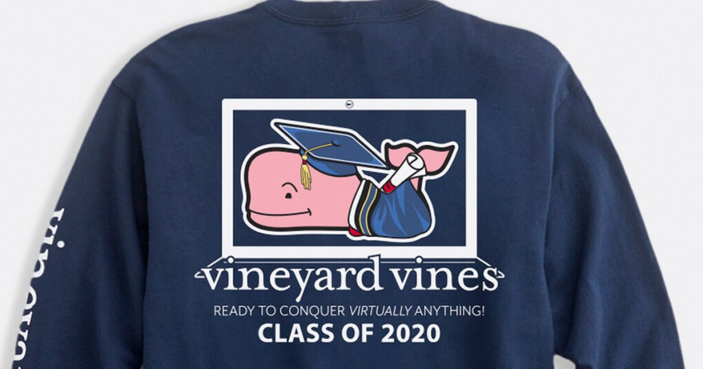 navy blue long sleeve tee with pink whale in graduation cap and gown