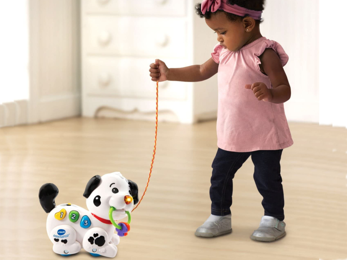 toddler standing and pulling vtech sing and pull puppy