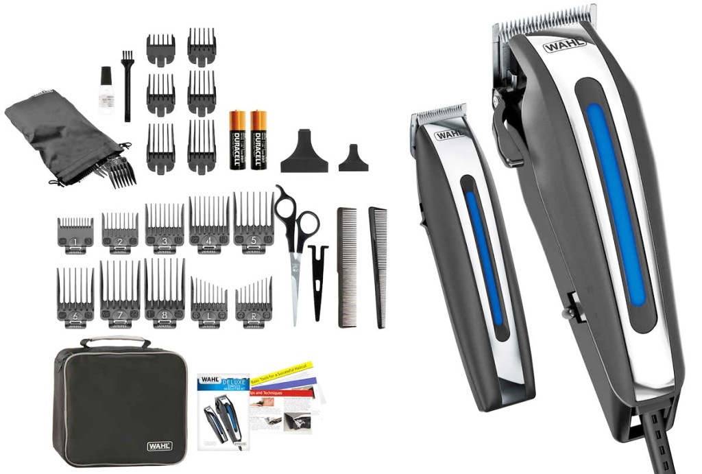 men's grooming haircutting trimmer, beard trimmer, and included guards and accessories