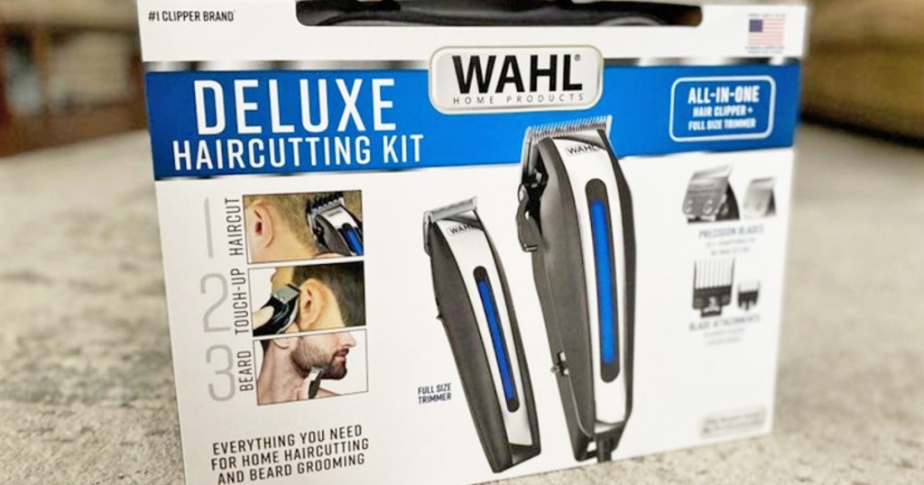 white and blue box for the Wahl deluxe hair cutting kit sitting on carpet