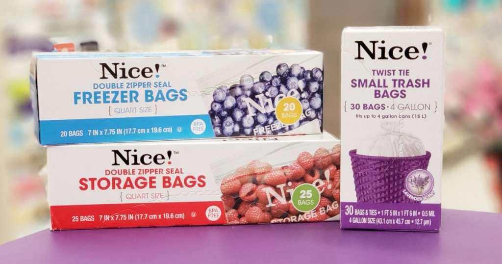 two boxes of Nice! brand food storage bags and one box of small trash bags