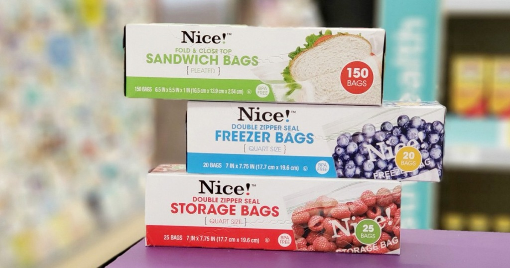 three boxes of Nice! brand food storage bags stacked on top of each other