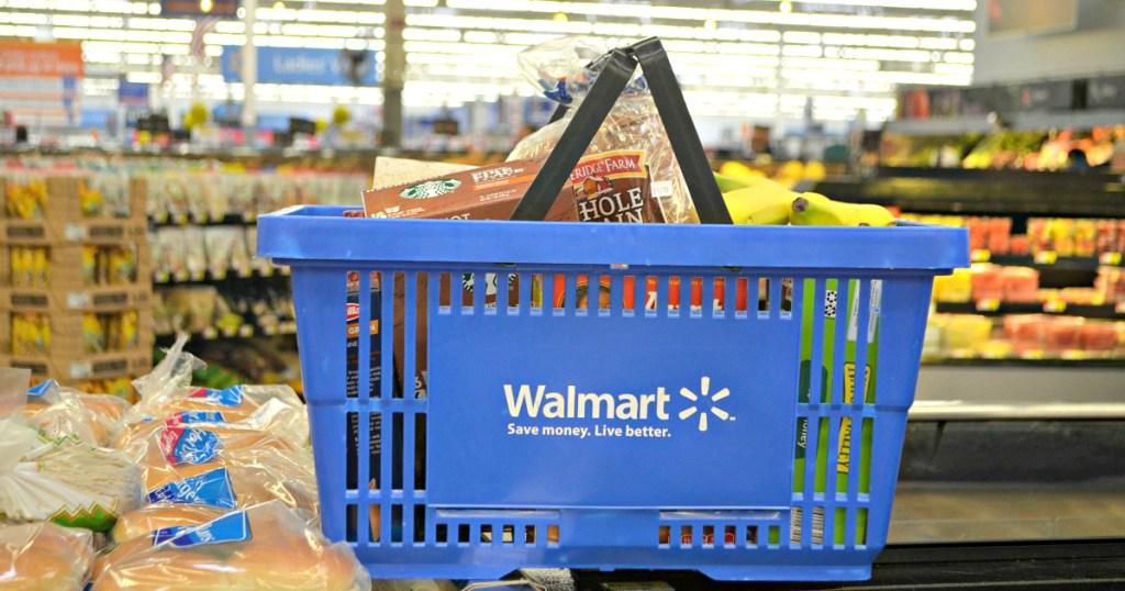walmart shopping basket with food