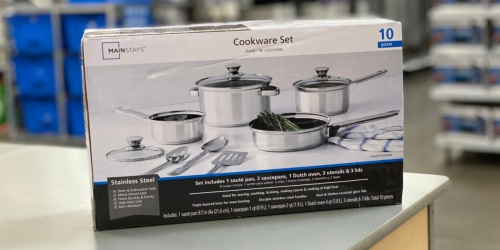 Mainstays 10-Piece Cookware Set w/ Kitchen Tools Only $19.88 on Walmart.com (Regularly $40)