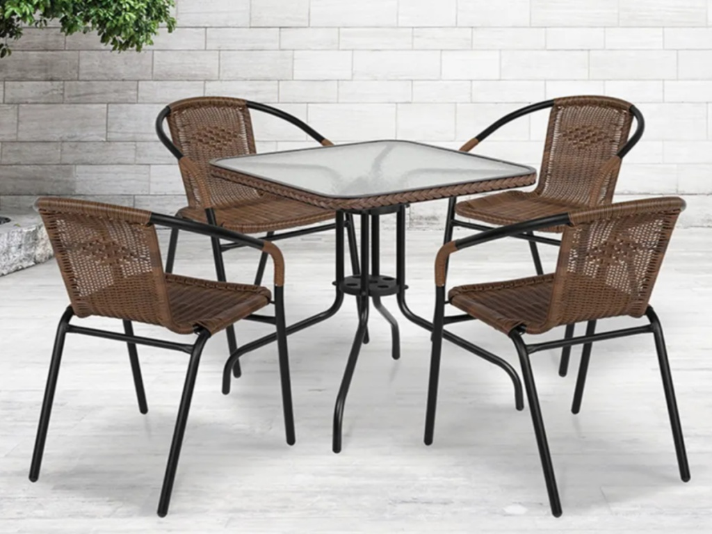 brown and black 5 piece outdoor patio dining set